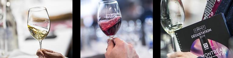 Montréal Passion Vin à la maison - bouteille, coupe de vin et carnet dégustation